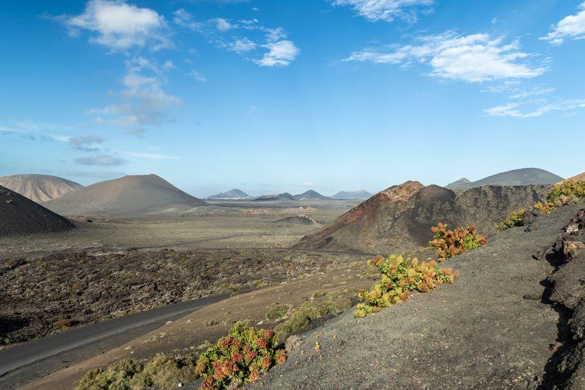 Una vista pre iosa del Parque Nacional de Timanfaya, en Lanzarote
