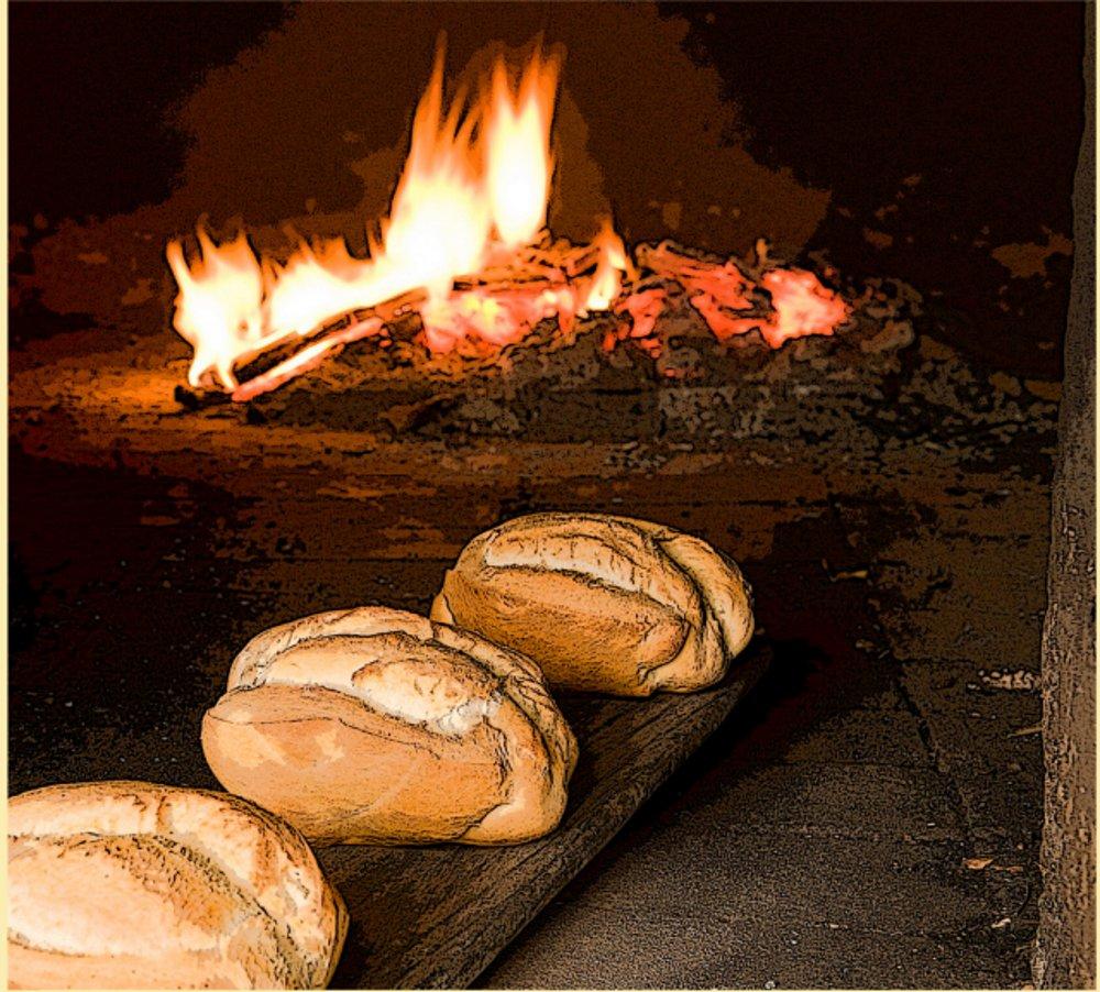 Pan de puño de ingenio, en el fuego del horno