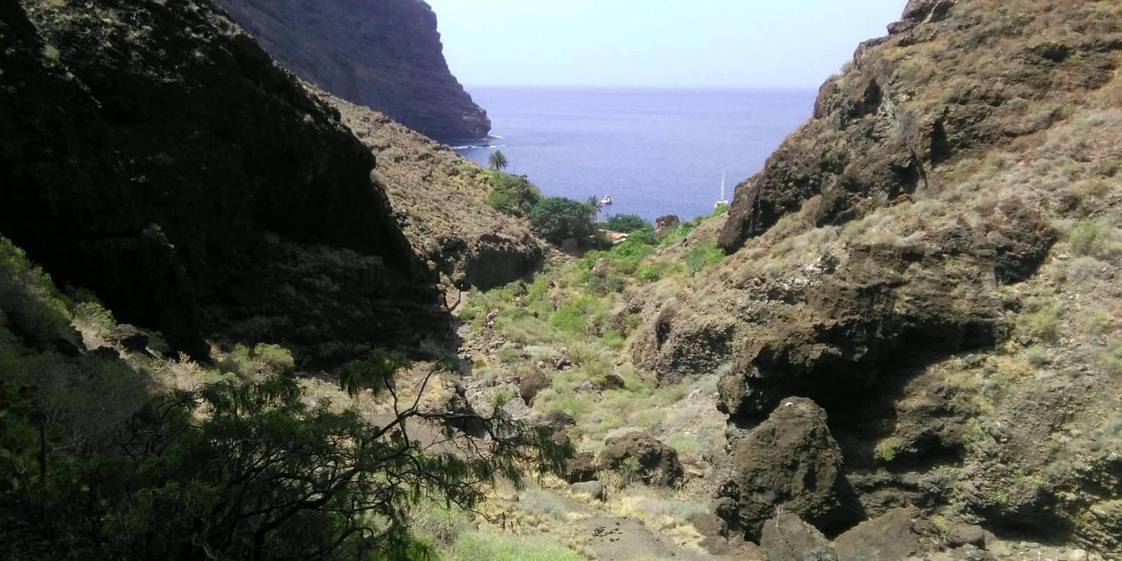 Llegada al mar desde el barranco de Masca